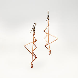 Zig-Zag Shaped Copper Earrings