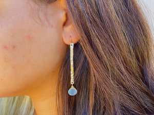 14KGF chalcedony bar earrings