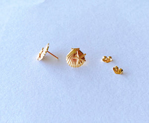 14KGF seashell with starfish stud earrings