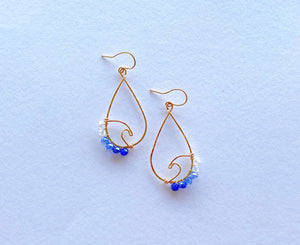 14KGF wave crystal beads earrings