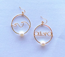 画像をギャラリービューアに読み込む, 14KGF Aloha & Waves Fresh water pearls hoop earrings
