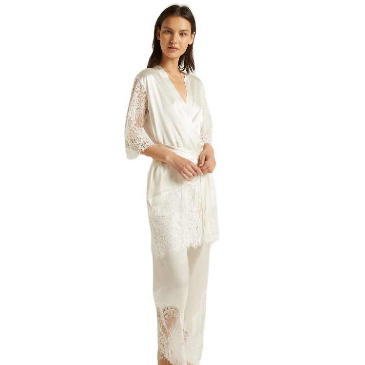 Ginia Ivory Silk Blaise Pant with Lace