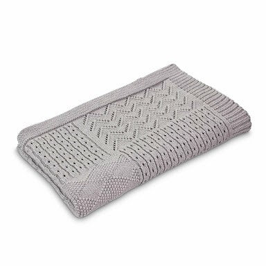 Grey Jessie Cotton Knitted Pattern Baby Blanket