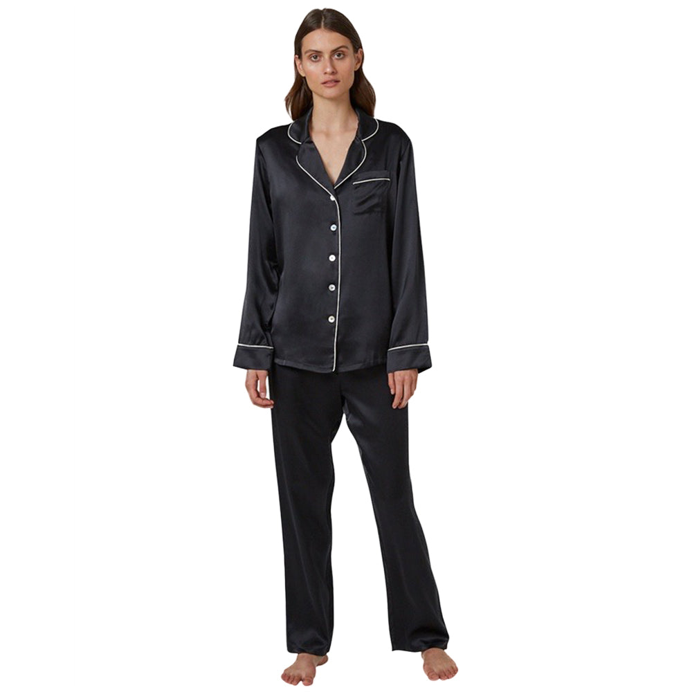 Ginia Silk Pyjama With Contrast Piping