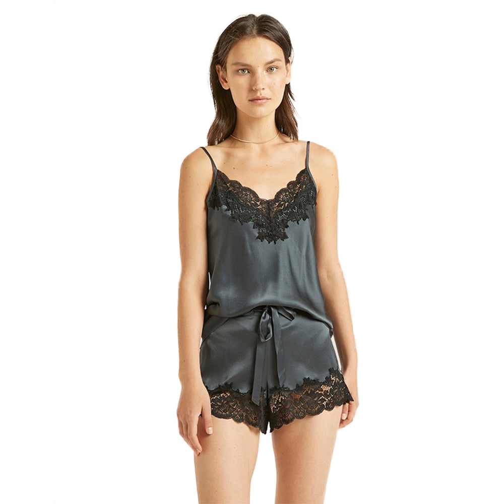 Ginia Silk Camisole And Short Set With Lace
