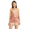 Ginia Canyon Rose Silk Camisole And Boxer With Lace