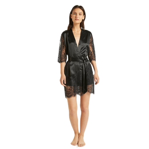 Ginia Blaise Black Silk Robe