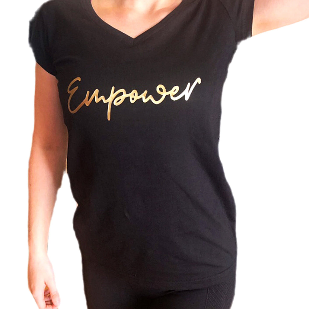Empower By Dr Anh - Black V-Neck T-Shirt