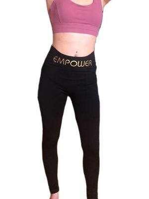 Empower By Dr Ahn - Gold Logo Compression Leggings