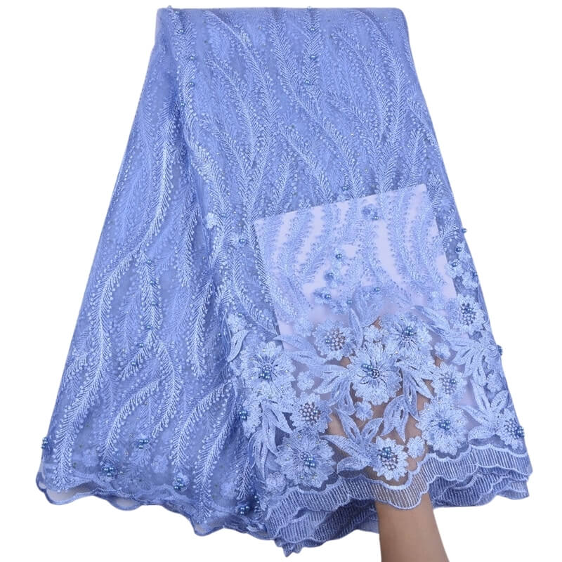 Floral Embroidered Beaded Tulle Lace 13001-Sky Blue