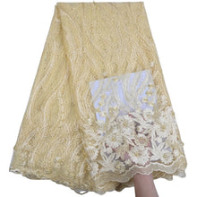 Load image into Gallery viewer, Floral Embroidered Beaded Tulle Lace 13002-Lemon chiffon