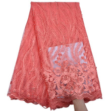Load image into Gallery viewer, Floral Embroidered Beaded Tulle Lace 13003-Light Coral