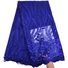 Load image into Gallery viewer, Floral Embroidered Beaded Tulle Lace 13005-Royal Blue