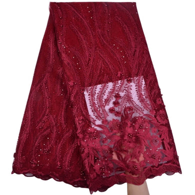 Floral Embroidered Beaded Tulle Lace 13006-Dark Red
