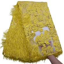 Load image into Gallery viewer, Fluff Metal Wire Embroidered 3D Lace 17892-Pure Yellow