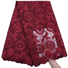 Load image into Gallery viewer, Sunflower Pattern Guipure Cord Lace 17966-Dark Red