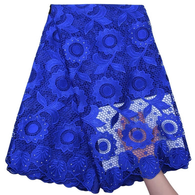 Sunflower Pattern Guipure Cord Lace 17968-Royal Blue
