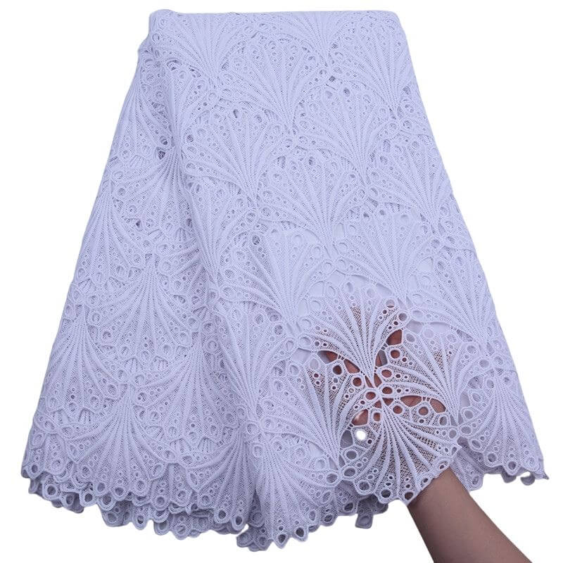 Shell Pattern African Guipure Lace 17991white