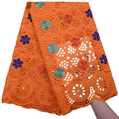 Floral Swiss Voile Fabric 18005-orange