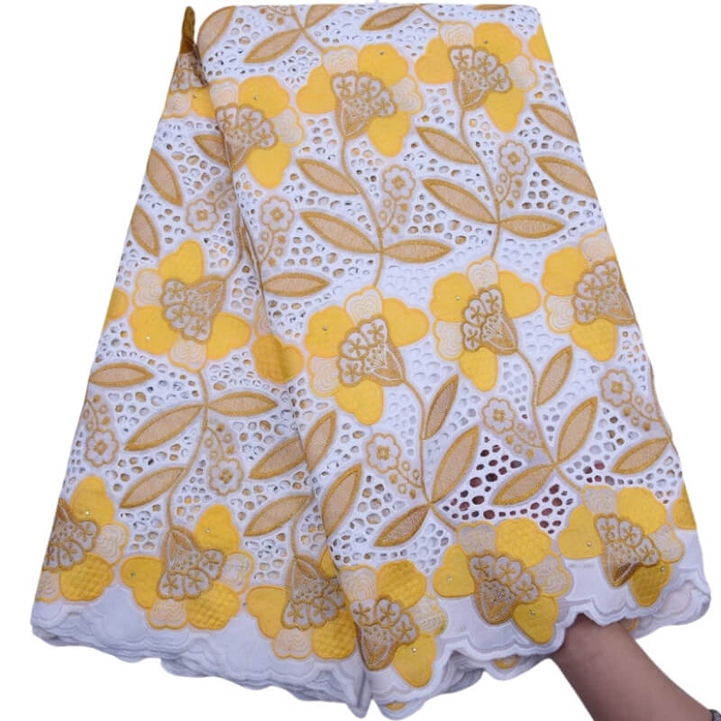 Eyelet Embroidery Swiss Voile Fabric 18131-lemon