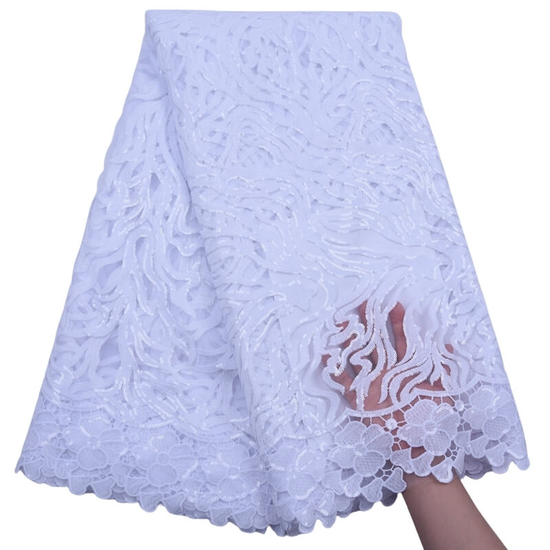 Sequins on Tulle Lace Fabric 18161-white