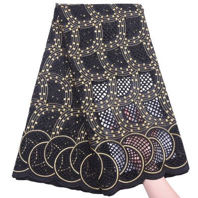 Arc Shaped Swiss Voile Fabric 18428-Black