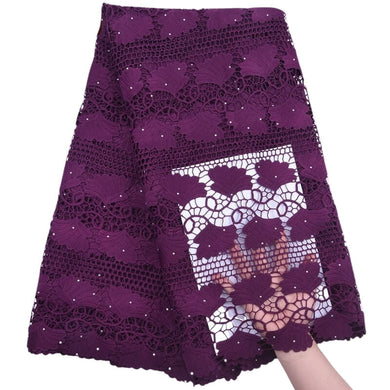 Banana Shaped Rhinestone Guipure Lace 18446-dark plum