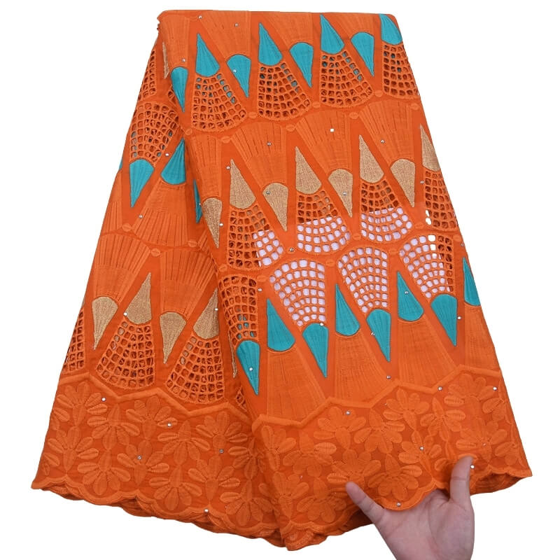 Orange African 100% Cotton Lace 191812