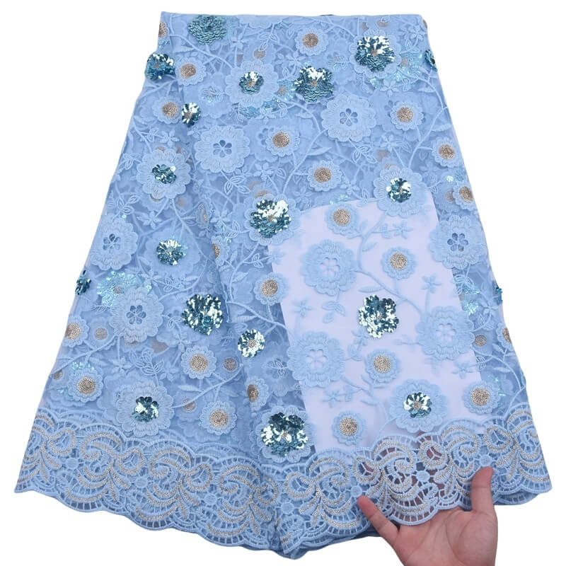 Baby Blue Sequin Lace Fabric