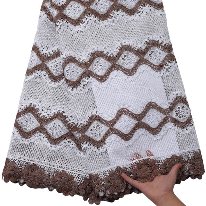 Brown Floral Guipure Lace