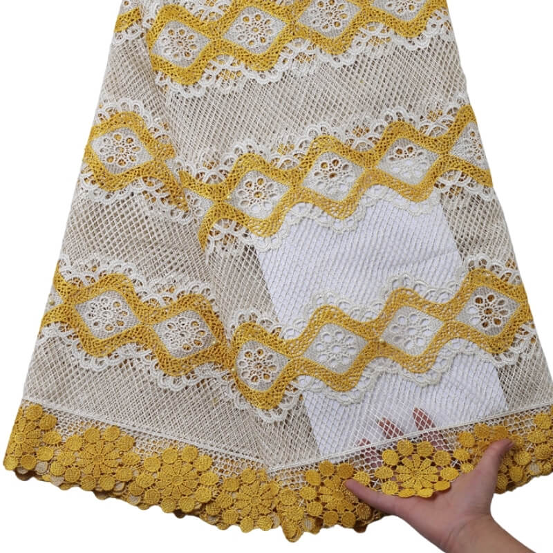 Yellow Floral Guipure Lace