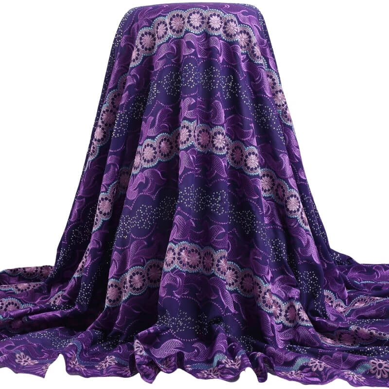 Dark Purple Embroidery Swiss Voile Cotton Fabric