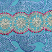 Load image into Gallery viewer, Teal and Sky Blue Embroidery Swiss Voile Cotton Fabric 22135