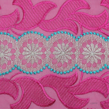 Load image into Gallery viewer, Fuchsia Embroidery Swiss Voile Cotton Fabric 22136