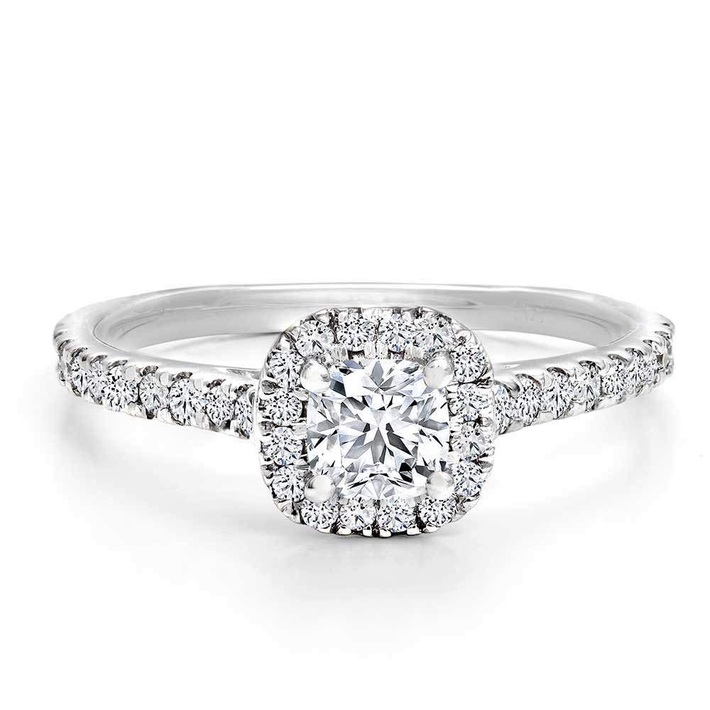 Diamond Cushion Cut Halo With Side Stones White Gold Ring