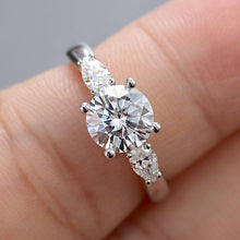 Load image into Gallery viewer, Moissanite 2 Carat 3-Stone White Gold Ring
