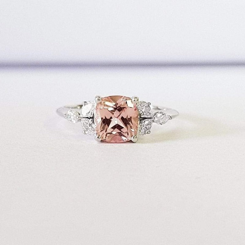 Morganite Cushion Cut With Marquise Diamond Side Stones White Gold Ring