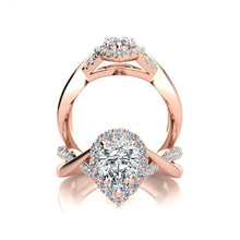 Load image into Gallery viewer, Pear cut halo moissanite diamond rose gold engagement ring