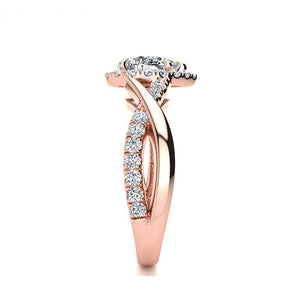 Pear cut halo moissanite diamond rose gold engagement ring