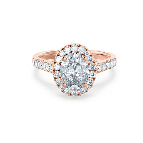moissanite 1.5 ct oval cut halo rose gold engagement ring