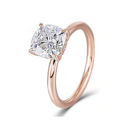 Diamond 1 carat solitaire rose gold ring