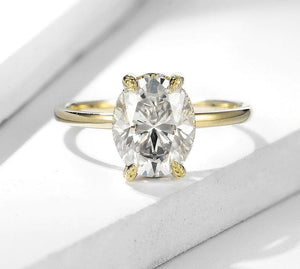 Moissanite Oval Cut With Hidden Halo Solitaire Yellow Gold Ring Rings Forever Chic Jewellery