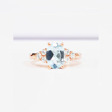 Load image into Gallery viewer, Aquamarine Oval Cut With Diamond Side Stones Rose Gold Ring