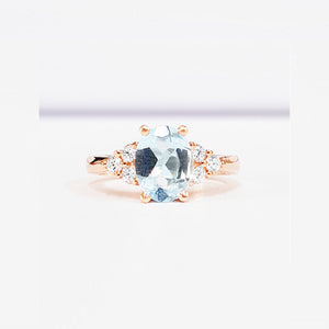 Aquamarine Oval Cut With Diamond Side Stones Rose Gold Ring