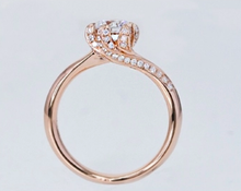 Load image into Gallery viewer, Diamond Round Brilliant Cut Solitaire with Side Stones Rose Gold Ring