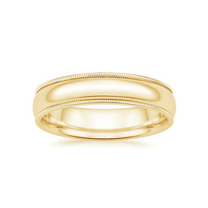 Wedding Ring for Him - 5mm Milgrain Yellow Gold Band