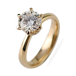 Moissanite 1.5 carat Solitaire With Hidden Halo Yellow Gold Ring Rings Forever Chic Jewellery