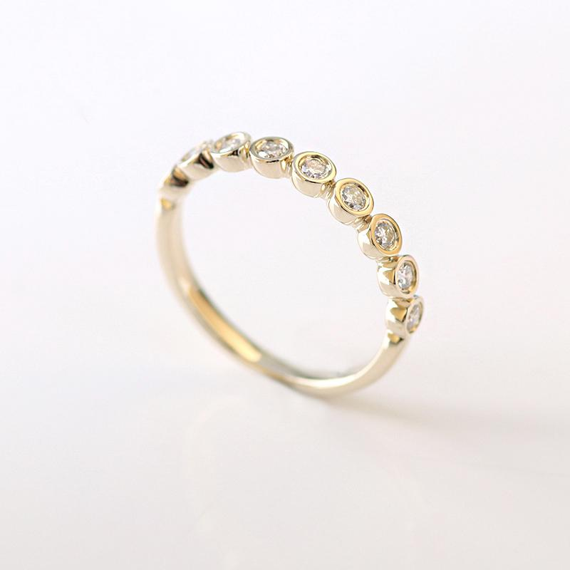 Moissanite Eternity 2.5mm Round Brilliant Cut Yellow Gold Ring