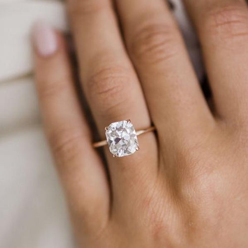 Moissanite 3 carat solitaire with hidden halo Gold Ring