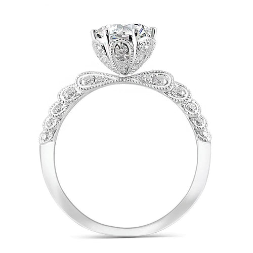 Moissanite Antique Intricate White Gold Ring